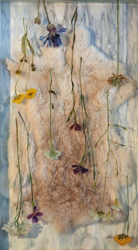 Diana Serghiuta, Mask, 42x 74 cm, rabbit hair, oil on glass and cardboard 2015