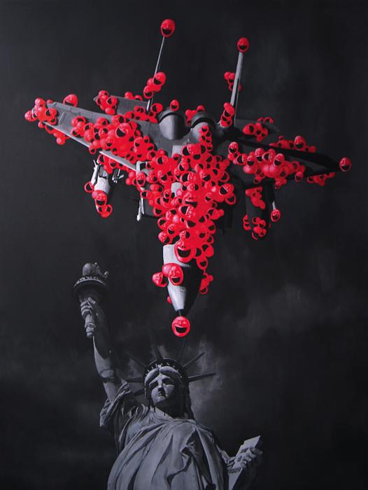 Qiuchi Chen, Fighter Jet Liberty Statue, 2009 olio su tela cm. 200x150