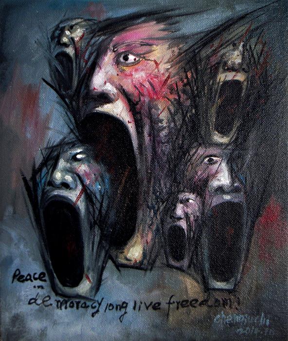 Qiuchi Chen, Shout V, 2014 olio su tela cm. 43x37